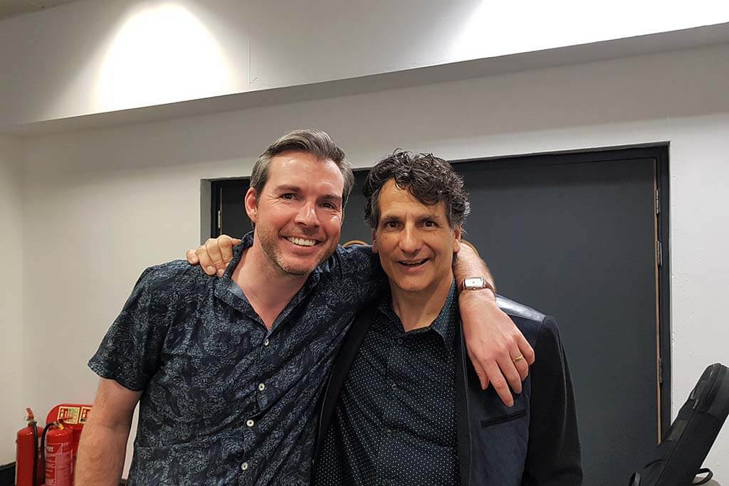 Gwilym with John Patitucci at the London Guitar Festival